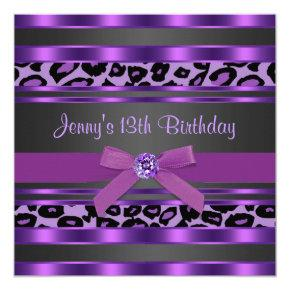 Purple Leopard Girls 13th Birthday Party Invitation