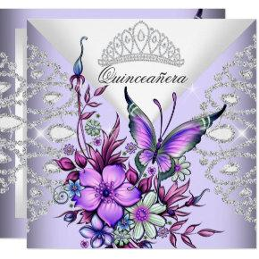 Purple Lilac Butterfly Tiara Quinceanera Floral Invitations