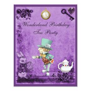Purple Mad Hatter Wonderland Birthday Tea Party Invitation