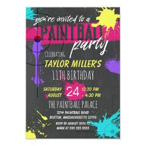 Purple & Magenta Paint Splash Paintball Party Invitation