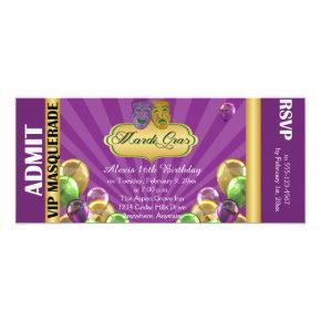 Purple Mardi Gras Party Ticket Invitation