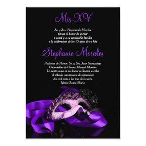 Purple Masquerade Quinceanera Invitation