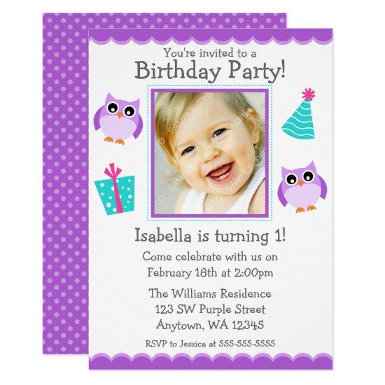 purple owl party 1st birthday girl photo invitations candied clouds