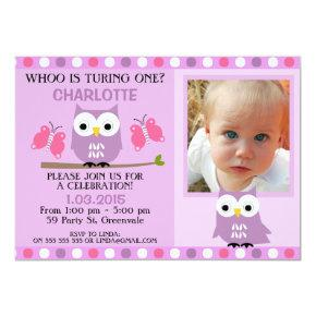 Purple Owls Butterflies 1st Birthday Invitations