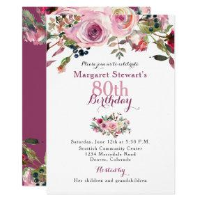 Purple watercolor floral flower birthday invitations candied clouds purple pink rose 80th birthday invite filmwisefo