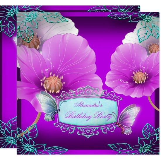 Purple Pink Teal Butterfly Birthday Party 2 Invitations