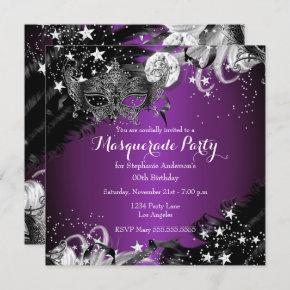 Purple plum Sparkle Magical Night Masquerade Party Invitation