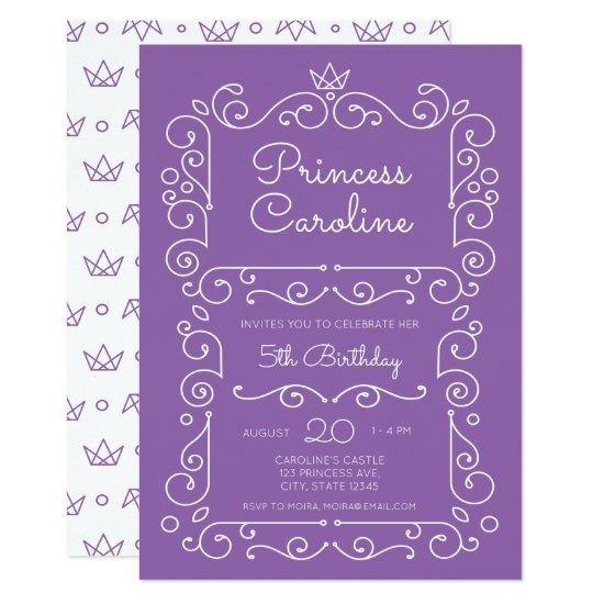 purple princess scroll birthday invitations candied clouds