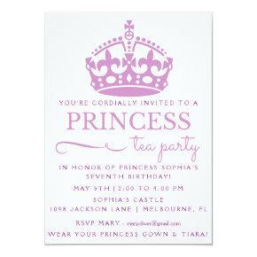 Purple Princess Tea Party Birthday Invitations
