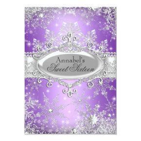 Purple Princess Winter Wonderland Sweet 16 Invite