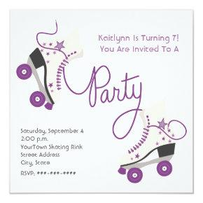 Purple Roller Skate Party Invitations