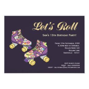 Purple Roller Skate Roller Skating Birthday Party Card