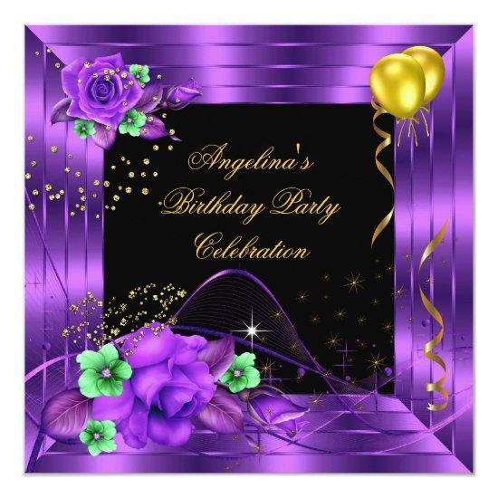 Purple Rose Gold Black Glitter Birthday Party