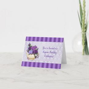 Purple Roses Teapot Lavender Damask Birthday Invitation
