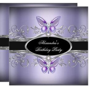 Purple Silver Black Jewel Butterfly Birthday Party Card