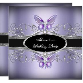 Purple Silver Black Jewel Butterfly Birthday Party Invitations