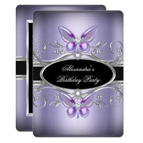 Purple Silver Black Jewel Butterfly Birthday Party Invitations