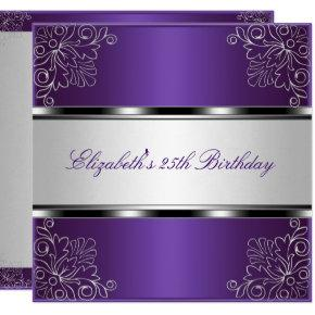 Purple Silver Floral 25th Birthday Party Event Invitations