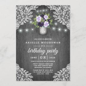 Purple Silver Gray Floral Rustic Birthday Party Invitation