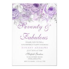 Purple Silver Seventy & Fabulous 70th Birthday Invitations