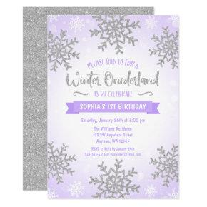 Purple Silver Winter ONEderland 1st Birthday Invitation