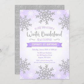 Purple Silver Winter ONEderland 1st Birthday Invitation