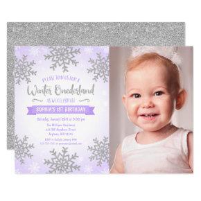 Purple Silver Winter ONEderland 1st Birthday Photo Invitation