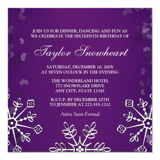 purple snowflake sweet sixteen birthday invitations candied clouds