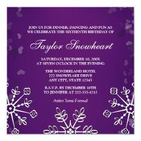 PURPLE SNOWFLAKE SWEET SIXTEEN BIRTHDAY INVITATION