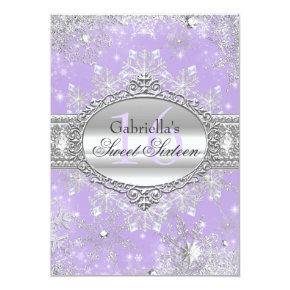 Purple Snowflake Winter Wonderland Sweet 16 Invite