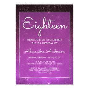 Purple Sparkle Under the Stars 18th Birthday Invitation