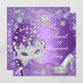 Purple Sweet Sixteen 16 Masquerade Party Tiara Invitation