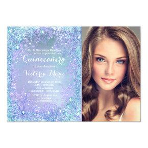Purple Teal Frozen Winter Wonderland Quinceanera Card