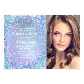 Purple Teal Frozen Winter Wonderland Quinceanera Invitation