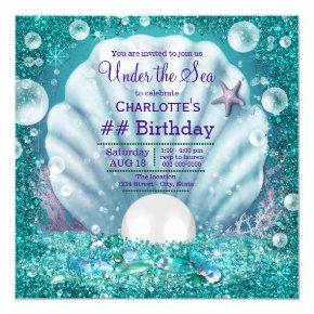 Purple Teal Pearl Under the Sea Birthday Party Invitation