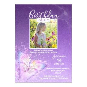 Purple Watercolor Butterfly Girl Birthday | PHOTO Invitation