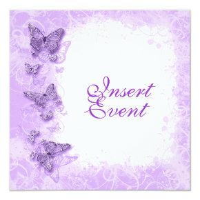 Purple White Wedding Anniversary Birthday Invitation