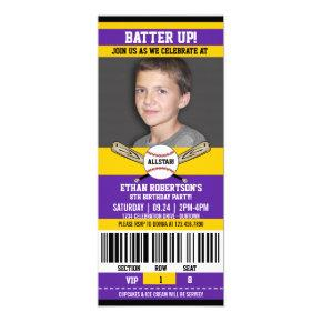 Purple|Yellow Ticket Style Baseball Birthday Party Invitation