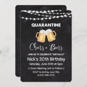 Quarantine Cheers and Beers Chalkboard Birthday Invitation