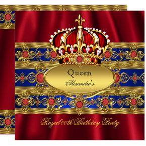 Queen King Prince Royal Blue Regal Red Crown 2 Invitations