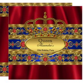 Queen King Prince Royal Blue Regal Red Crown Invitation
