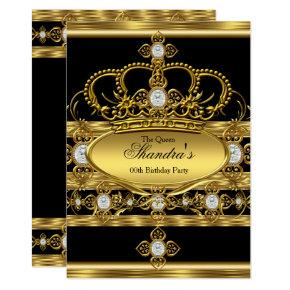 Queen King Prince Royal Gold Diamond Crown Party Invitations
