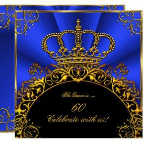Queen King Regal Gold Royal Blue Birthday Party Invitations