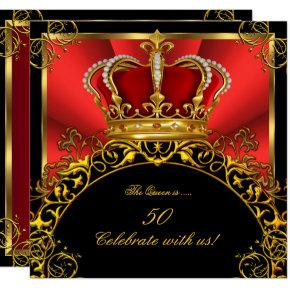 Queen King Regal Red Gold Royal Birthday Party 3 Invitations