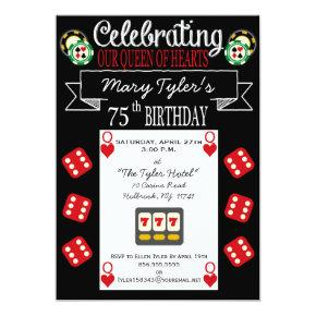 Queen of Hearts 75th Birthday Party Invitation