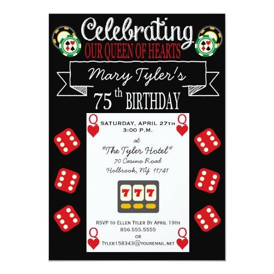 Queen of Hearts 75th Birthday Party Invitation Candied Clouds