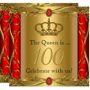 Queen or King Regal Red Gold 100th Birthday Party Invitation