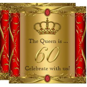 Queen or King Regal Red Gold 60th Birthday Party Invitation