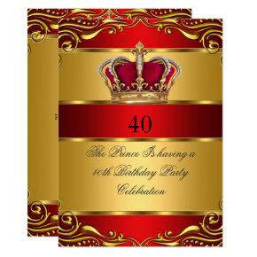 Queen Prince King Regal Red Gold Crown Birthday Invitations