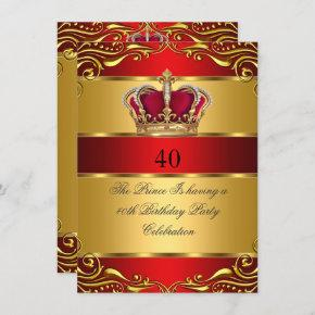 Queen Prince King Regal Red Gold Crown Birthday Invitation